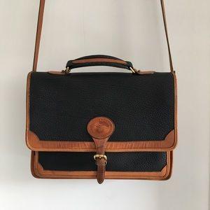 Vintage Dooney & Bourke Leather Flap Messenger Bag